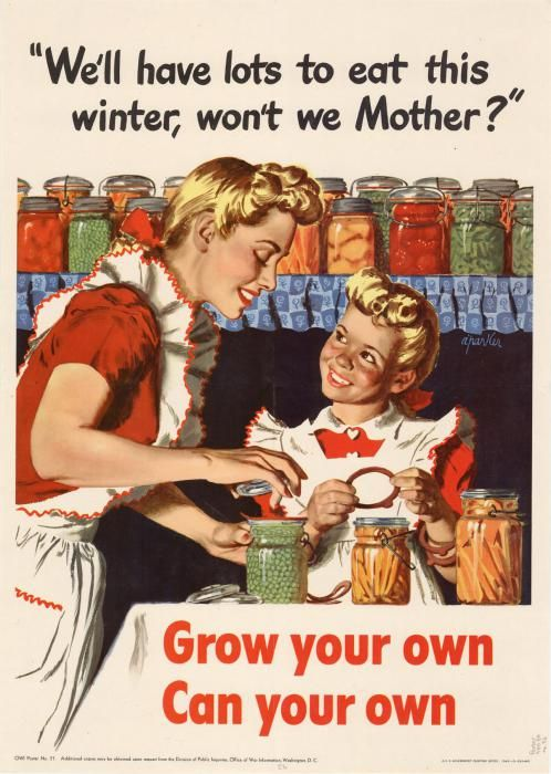 Al Parker (1906-1985) propaganda de engajamento  patriótico durante a WWII incentivando as donas de casas preparem suas reservas de alimentos em conservas e se prevenirem da escassez de comida causada pelas guerras e assim protegerem suas famílias da fome. Entre essas conservas estavam geleias e compotas de frutas.