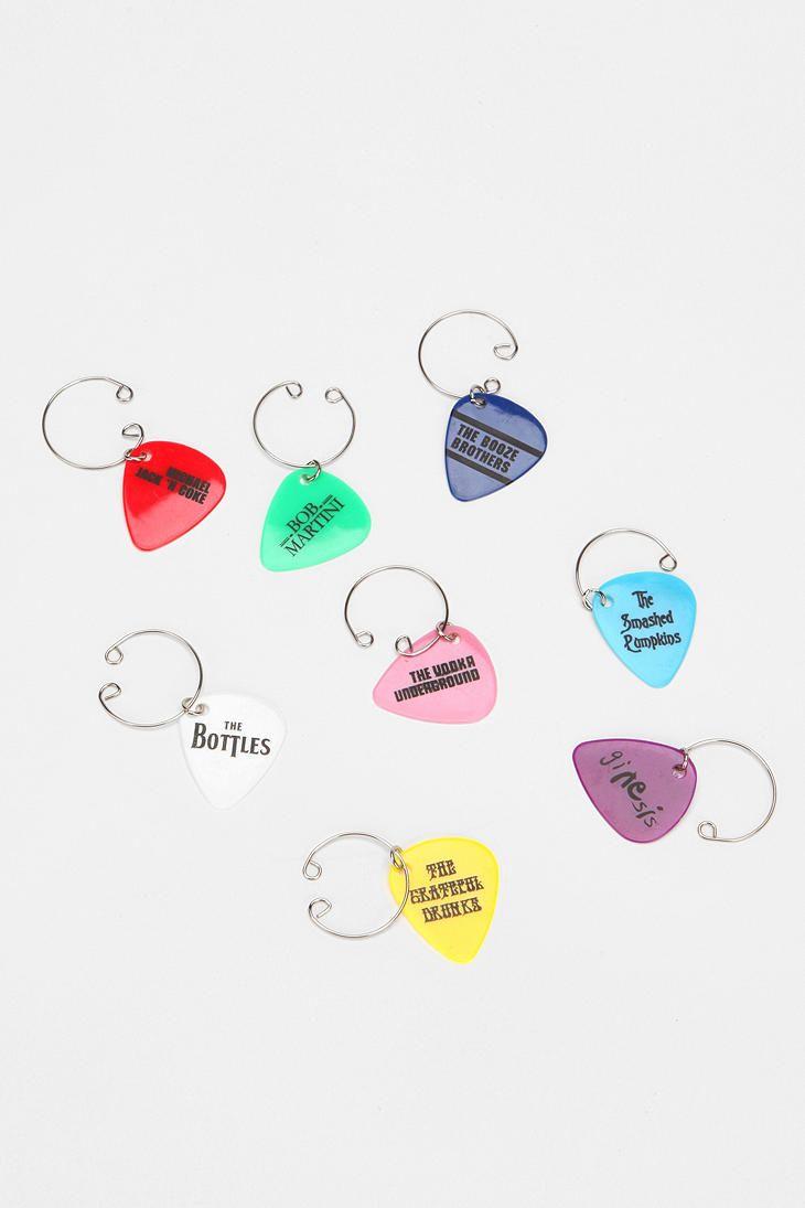 Guitar Pick Wine Charm - Set Of 8