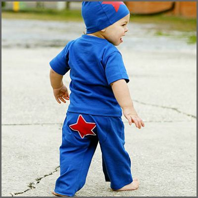 Blue 'Star' Crawler. You already know he's a star, now he can show the world! These super cute, blue 'crawler' style pants are super soft yet durable enough to be his everyday play pants. Made out of 100% cotton it provides gentle protection from carpet  burn knees and is machine washable!