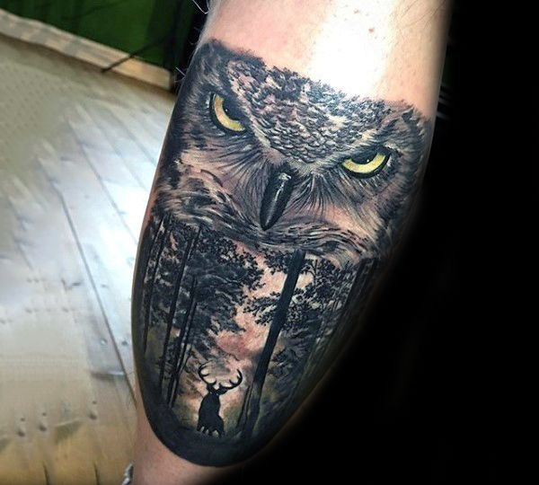Best 25 Badass Tattoos Ideas On Pinterest: Deer In Woods With Realistic Owl Badass Mens Leg Calf