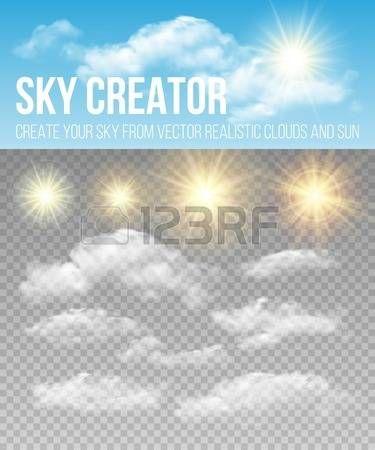 Sky creator Set realistic clouds and sun  Stock Vector