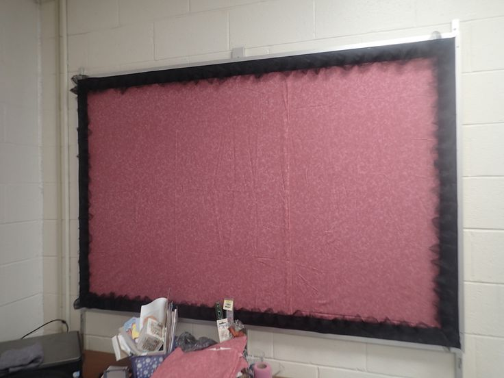 Classroom Decor Pictures ~ Bulletin board fabric backing ribbon trim with tulle