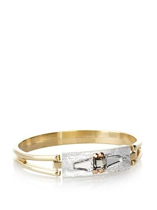 60% OFF Sandy Hyun Silver Leather Bangle, One Size