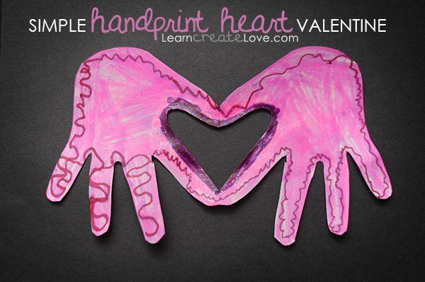 { Handprint Heart Valentine Craft }