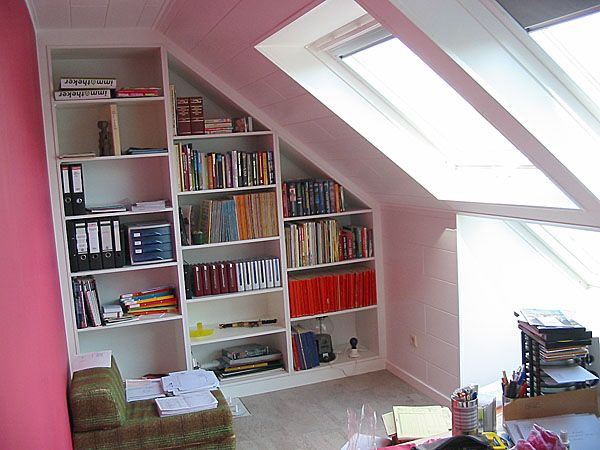 bookcase in eaves of loft/attic