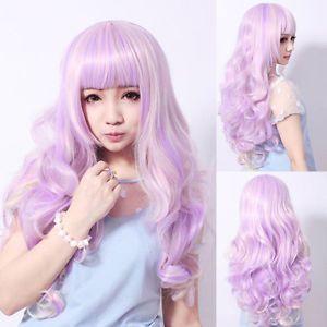 Сексуальная длинные волнистые полный парик костюма ну вечеринку фиолетовый лаванда фиолетовый градиент волосы теплоизоляционный слой cospay парики