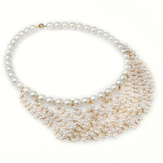FJ Fashion White Faux Pearl Beads Waterfall by Glamorosajewelry