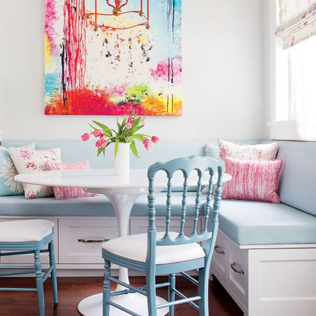 Pale blue colour scheme with white, and pink and yellow accents