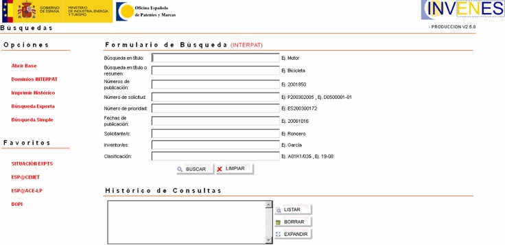 Invenes is the free patent search system provided by the Spanish Patent Office. Read the full Community Report at Intellogist: http://www.intellogist.com/wiki/Invenes_(Spain_Patent_Search)
