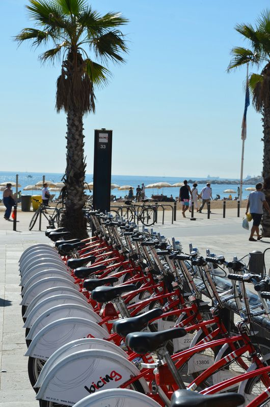 Bicing, the local bike service is available from all beaches in Barcelona