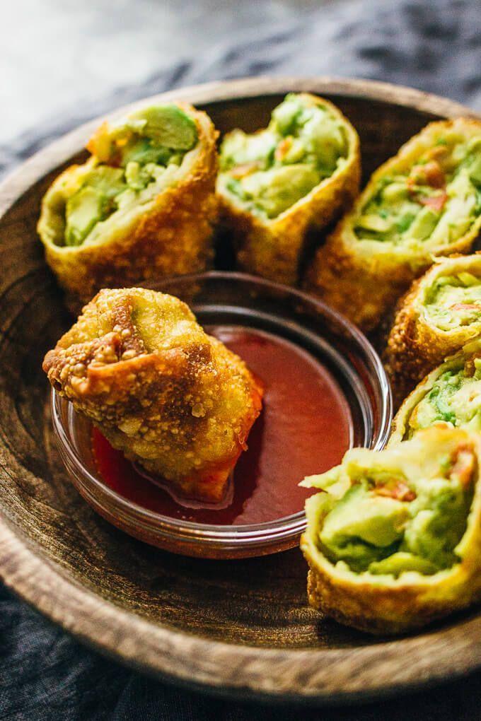 Avocado egg rolls with sweet chili sauce (vegan)