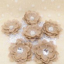 1 unids arpillera de yute de la flor del diamante arpillera Rose Vintage partido decoración de la boda regalo DIY accesorios de embalaje rústica decoración de la boda(China (Mainland))