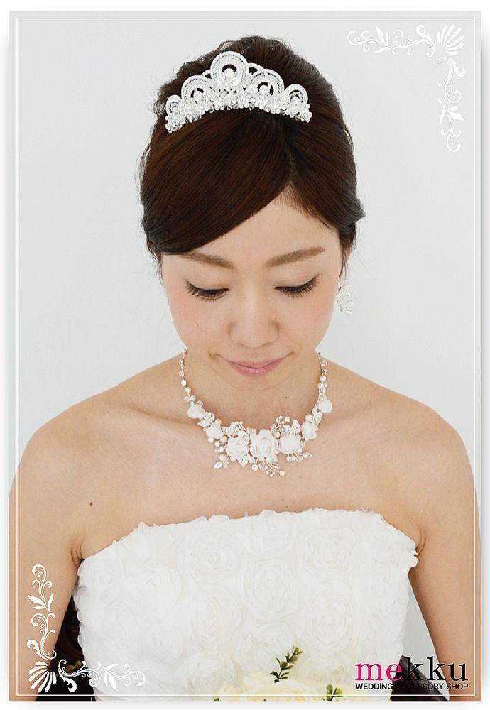 【ヘッドドレス】【ティアラ】クリスタルビーズTiara/ウェディングアクセサリー~mekku~【メック】