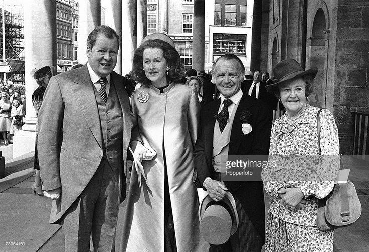 Aristocracy/Stage and Screen, Personalities, 12th May 1979, Thanksgiving service for the recovery of Earl Spencer after his illness, All Saints Church, Northampton, The picture shows the Earl and Countess Spencer, left with actor Sir John Mills and Lady Mary Mills