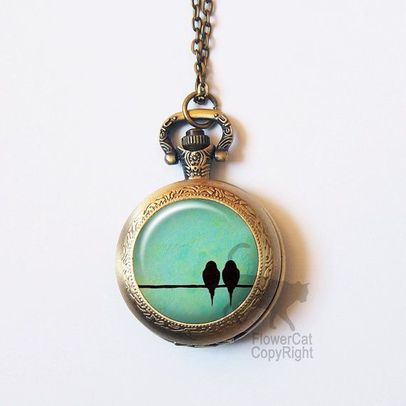 Collar de reloj de bolsillo de aves aves cerceta antiguo