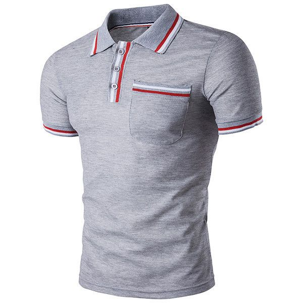 s Front Pocket Polo Shirt Short Sleeve Spring Summer Casual Tops (€16) ❤ liked on Polyvore featuring men's fashion, men's clothing, men's shirts, men's polos, light gray, men tees & tank top polo, men's regular fit shirts, mens long sleeve summer shirts, mens short sleeve polo shirts and mens long sleeve collared shirts