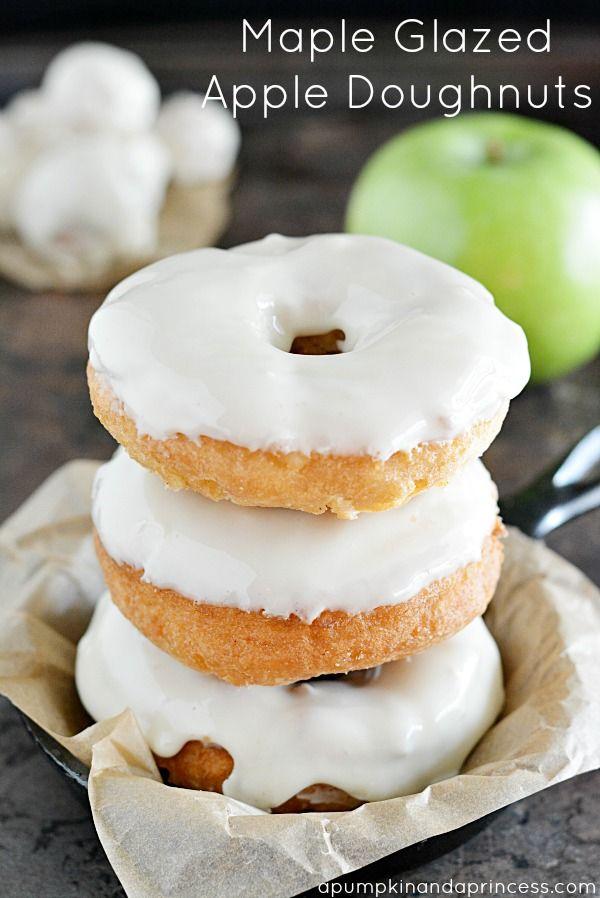 Maple Glazed Apple Doughnuts Recipe @pumpknaprincess