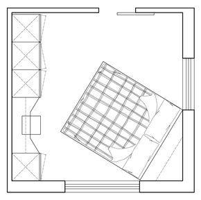 Questa soluzione potrebbe per esempio tornare utile in caso si possedesse già qualche modulo di armadio; basterebbe integrarlo con la nuova parte di moduli a giorno e del piano con la sedia, da far realizzare su misura. Anche in questo caso, una porta scorrevole esterno-muro renderebbe gli spazi più fluidi e fruibili