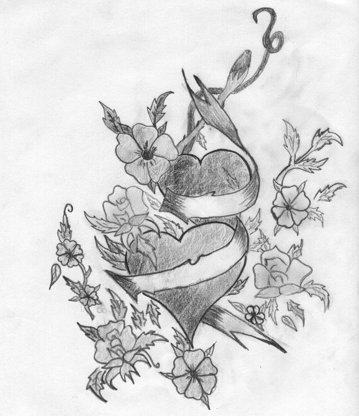 Dibujo A Lapiz De Corazones Con Alas