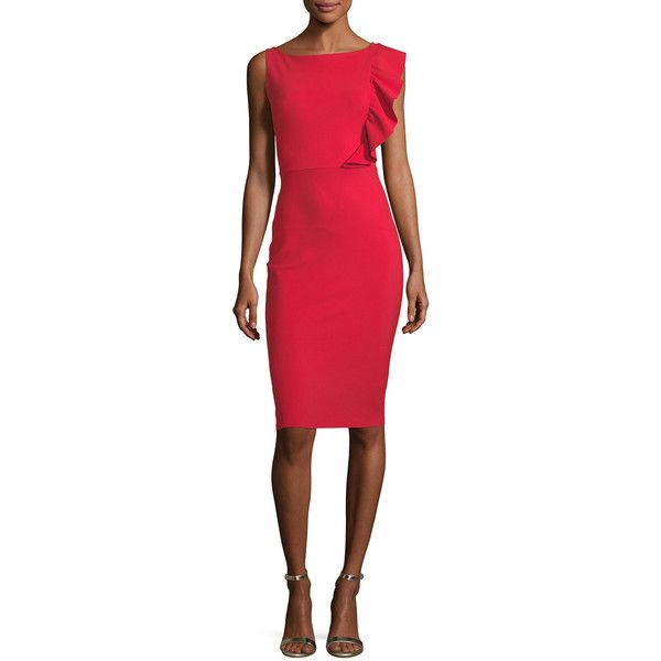 La Petite Robe Di Chiara Boni Avital Sleeveless Asymmetric Ruffle... ($695) ❤ liked on Polyvore featuring dresses, red, red holiday cocktail dress, red sheath dress, evening dresses, special occasion dresses and sleeveless sheath dress
