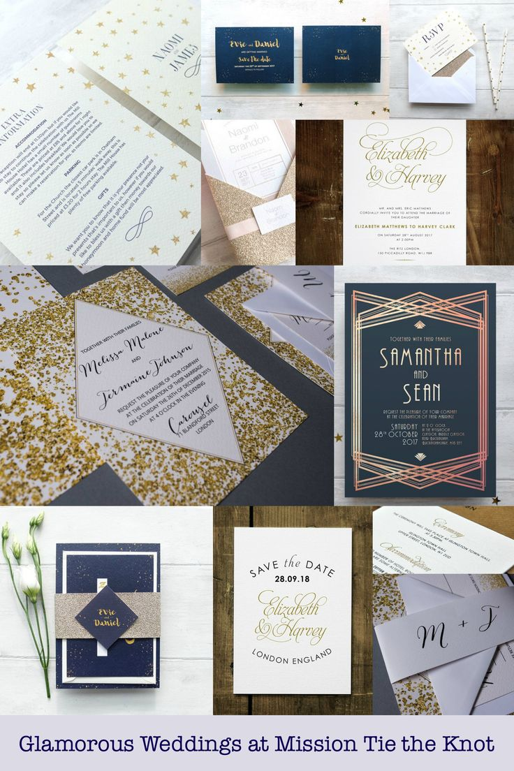 Glamorous wedding stationery at Mission Tie the Knot.   #weddingstationary #stars #glamorous #weddings #glamwedding #weddingivitions #stars #winterwedding #gatsby #calligraphy