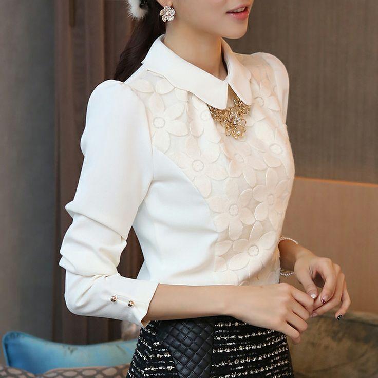 2014 tapas de la manera elegante de encaje blanco de manga larga de las mujeres de la gasa delgada de la blusa, envío libre