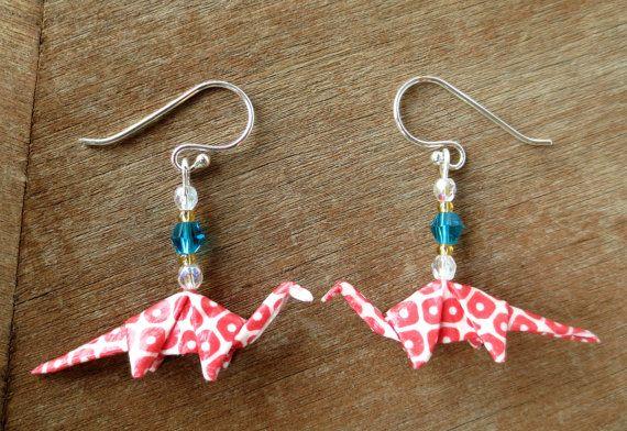 Origami Dinosaur Earrings - Red & White Brontosaurus with Turquoise Swarovski Crystal