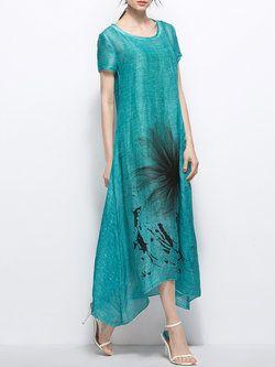 Green Short Sleeve Asymmetric Maxi Dress