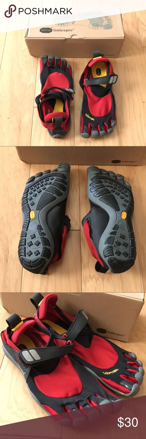 Vibram FiveFingers Shoes in Red New but missing tags. Purchases a few years ago but was too small and didn't have time to deal with returns. Size 42 and per Vibrams size chart, it fits US: 9.5-10. Check out the blue ones I have listed as well! Vibram Shoes Athletic Shoes
