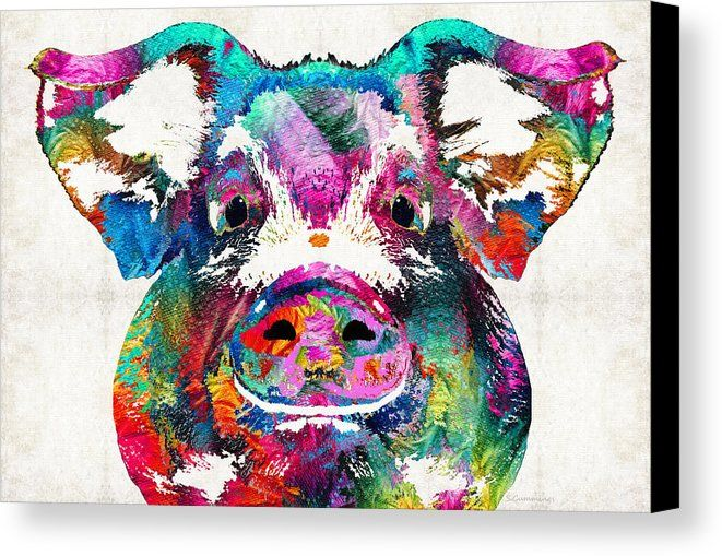 Pig Canvas Print featuring the painting Colorful Pig Art - Squeal Appeal - By Sharon Cummings by Sharon Cummings