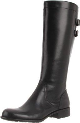 "AK Anne Klein Women's Keera LE Boot Anne Klein. $128.48. Mane Made lining. Leather Upper. Manmade sole. Boot opening measures approximately 14.25"" around. Heel measures approximately 1"". leather. Shaft measures approximately 14.75"" from arch"