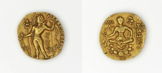 Dinar of Chandragupta II, made in India, c.376-414 (source).