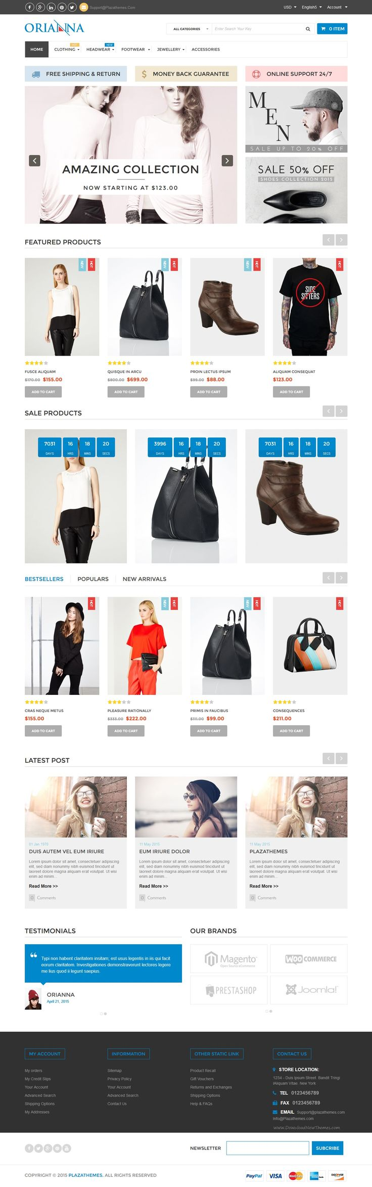 Orianna Fashion Theme is multipurpose magento theme. Moreover, this Theme is also a perfect modules combination. With fashionable look, extensions are fully integrated with features make you can't pass this #fashion #magento #theme. #eCommerce #shop #Plaza-Themes