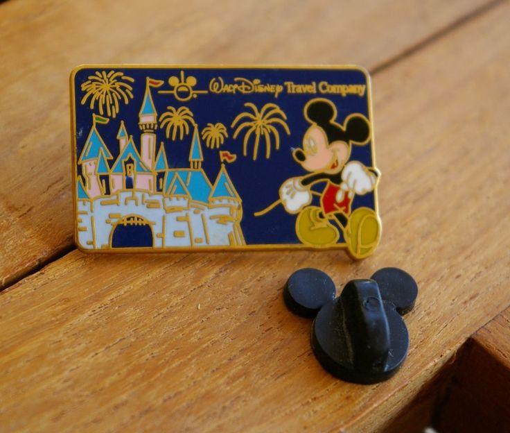 Walt Disney Travel Company Mickey Mouse Lapel Pin Pinback Gold Tone Metal CHIN  | eBay