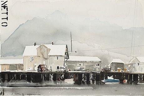 "Lars Lerin Born 1954 ""Henningsvaer"". (d) Signed Lars Lerin and dated 90. Watercolor circa 38 x 55 cm."