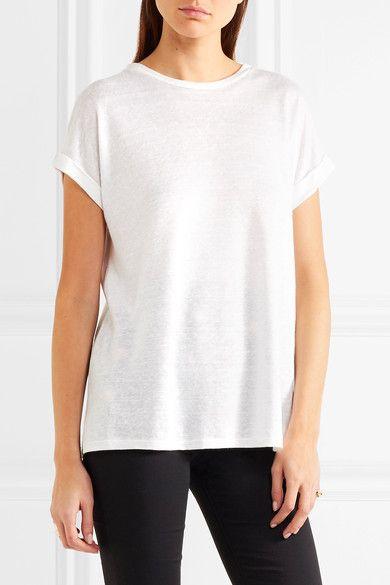 Balmain - Slub Stretch Linen-blend Jersey T-shirt - Off-white - FR34