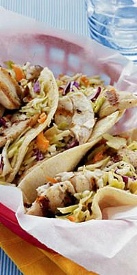 Fish Tacos with Sesame Ginger Slaw  - Crunchy crab cakes. Savory shrimp. Luscious lobster. In general, seafood is great for your health (as long as you avoid the breaded, deep fried kind). So eat up! Here are 17 great recipes for healthy seafood.