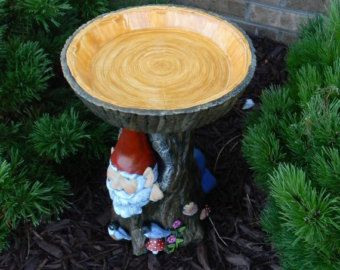 Gnome Tree Stump Bird Bath  Log slice top - ceramic ooak birdbath -