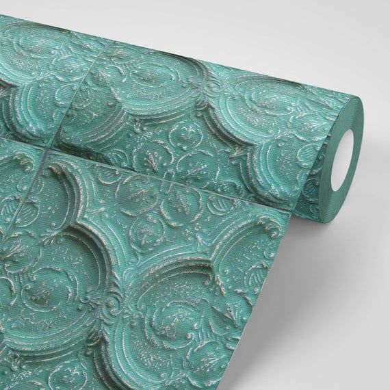 Faux Teal Ceiling Tile Removeable Wallpaper Peel And Stick Wallpaper Sticker Removable Repositionable Retro Re Positionable Green Blue Wallpaper Ceiling Ceiling Tile Wallpaper Stickers