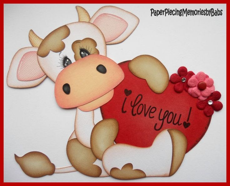 Valentine Cow created by PAPER PIECING MEMORIES BY BABS for scrapbook pages, pattern by Little Scraps of Heaven Designs.