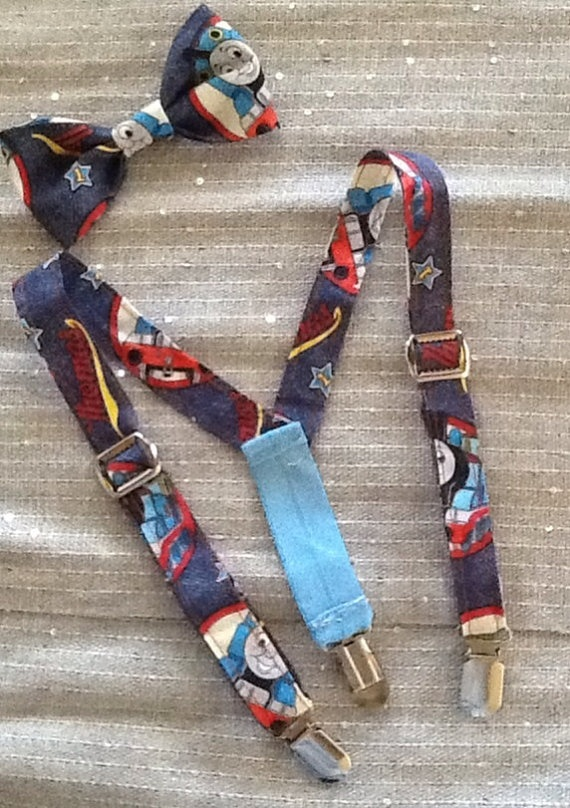 Thomas the train Suspenders and bow tie set by Hellolittlecutie, $25.00