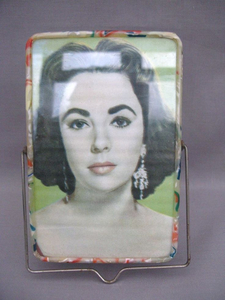 A Fabulous 1950s plastic picture frame & mirror with picture of Elizabeth Taylor