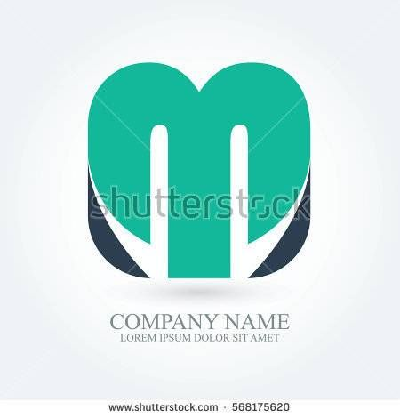 initial letter m creative circle logo typography design for brand and company identity. green and dark blue color