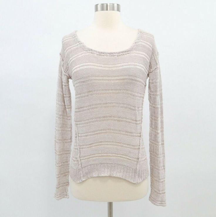 Splendid Sweater Pullover S Small Open Knit Stripes Taupe Beige Scoop Neck #Sple…