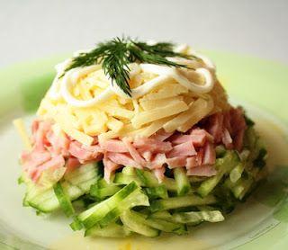 Слоеный салат из ветчины «Мужская мечта»