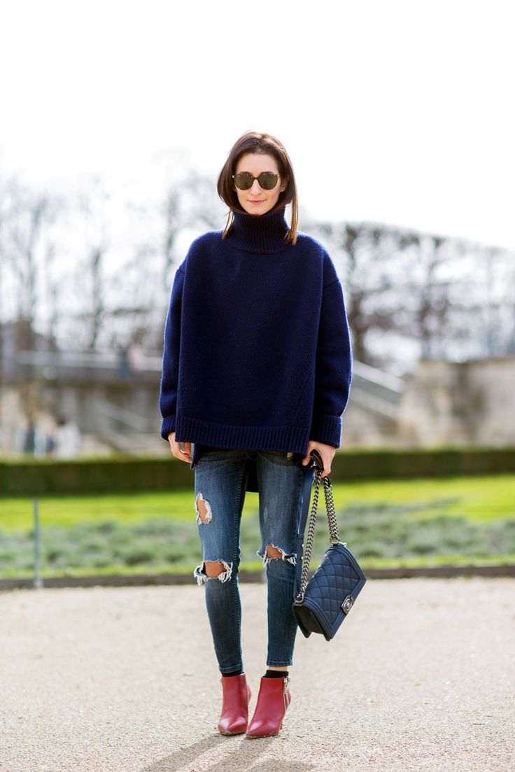 Why Your Knees Deserve Ripped Jeans #refinery29  http://www.refinery29.com/68441#slide1  On chilly days, a big, cozy sweater looks great with ripped jeans. When the weather is warmer, a structured, boxy top fulfills the same role.