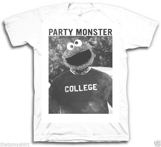 New Authentic Mens Sesame Street Cookie Monster Party Monster Sizes S-2XL