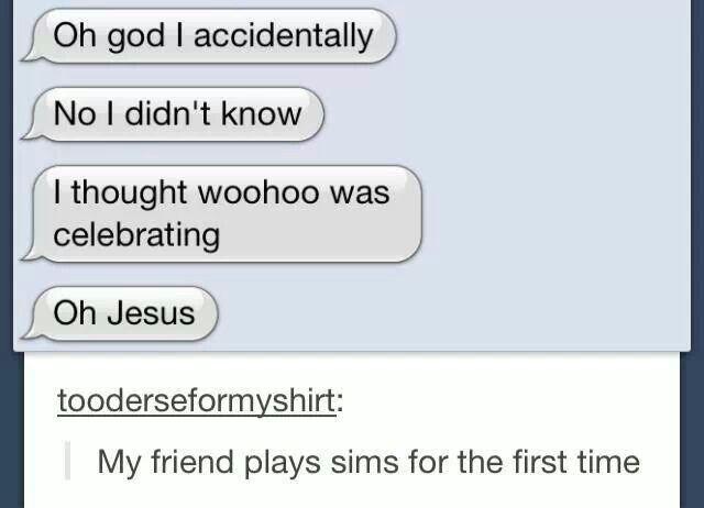 Hmmmmmmmmmmmm I wonder what woohoo is... OH DEAR GOD, me my first time playing sims.