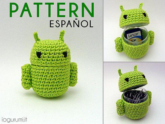 Recipiente en forma de Android a Crochet, ideal para guardar los clip
