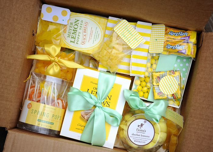 Sunshine in a Box- care package made of yellow treats to brighten someone's day